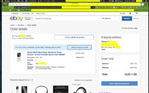 Screenshot of eBay shopping