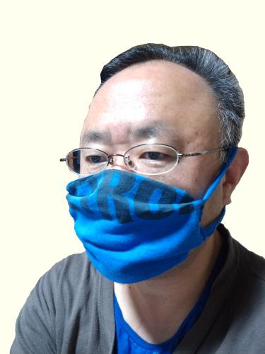 青い自家製布マスク